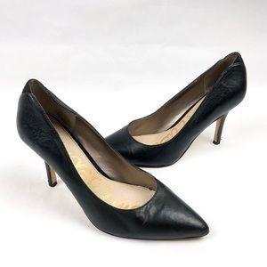 SAM EDELMAN Zola Black Leather Pointy Toe Pumps